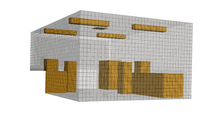 The generated grid with snappyHexMesh for ventilation in a room